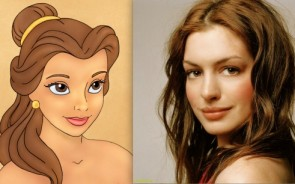 Okay, so the facial shape and eyebrows are a bit different – but the practically identical lips, nose and big brown eyes more than make up for it. Just comb those strays into place and Hathaway is almost as beautiful as Belle herself.