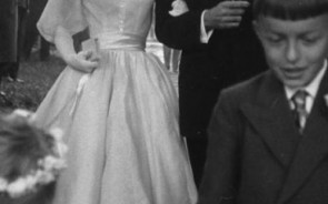 Audrey Hepburn met her husband while they were both in the 1954 Broadway production of Ondine. When they were married later that year, she chose to wear an elfin tea-length, chiffon dress. She complimented her wedding dress with a wreath of fresh flowers on her head.